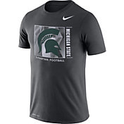 Nike Men's Michigan State Spartans Grey Team Issue Logo Football T-Shirt