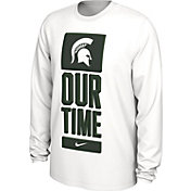 Nike Men's Michigan State Spartans 'Our Time' Bench Long Sleeve White T-Shirt