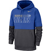 Nike Men's Memphis Tigers Blue/Grey Therma Football Sideline Performance Pullover Hoodie