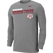 Nike Men's Morehouse College Maroon Tigers Grey Dri-FIT Cotton Long Sleeve T-Shirt