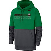 Nike Men's Marshall Thundering Herd Green/Grey Therma Football Sideline Performance Pullover Hoodie