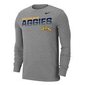 Nike Men's North Carolina A&T Aggies  Grey Dri-FIT Cotton Long Sleeve T-Shirt