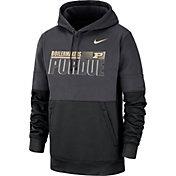 Nike Men's Purdue Boilermakers Grey Therma-FIT Sideline Fleece Football Hoodie