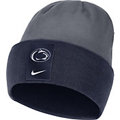 Nike Men's Penn State Nittany Lions Navy/Grey Dri-FIT Football Sideline Cuffed Knit Beanie