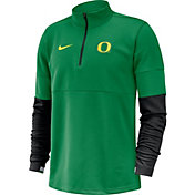 Nike Men's Oregon Ducks Green Football Sideline Therma-FIT Half-Zip Pullover Shirt