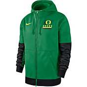 Nike Men's Oregon Ducks Green Therma Football Sideline Full-Zip Hoodie