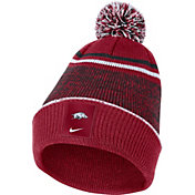 Nike Men's Arkansas Razorbacks Cardinal Football Sideline Cuffed Pom Beanie