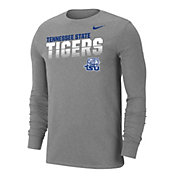 Nike Men's Tennessee State Tigers  Grey Dri-FIT Cotton Long Sleeve T-Shirt