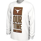Nike Men's Texas Longhorns 'Our Time' Bench Long Sleeve White T-Shirt