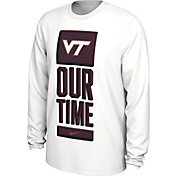 Nike Men's Virginia Tech Hokies 'Our Time' Bench Long Sleeve White T-Shirt