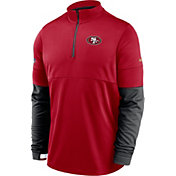 Nike Men's San Francisco 49ers Sideline Coach Performance Red Half-Zip Pullover