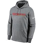 Nike Men's  San Francisco 49ers Wordmark Therma-FIT Grey Pullover Hoodie