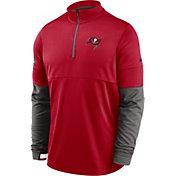 Nike Men's Tampa Bay Buccaneers Sideline Coach Performance Red Half-Zip Pullover