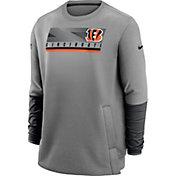 Nike Men's Cincinnati Bengals Sideline Coaches Grey Crew Sweatshirt