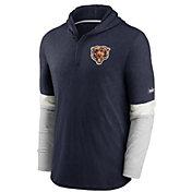 Nike Men's Chicago Bears Navy Hooded Long Sleeve Henley T-Shirt
