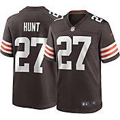 Nike Men's Cleveland Browns Kareem Hunt #27 Home Brown Game Jersey