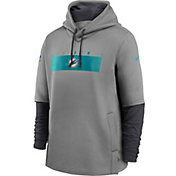 Nike Men's Miami Dolphins Sideline Therma-FIT Heavy Grey Hoodie