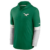 Nike Men's Philadelphia Eagles Green Hooded Long Sleeve Henley T-Shirt