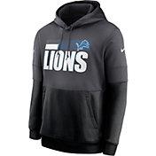 Nike Men's Detroit Lions Sideline Lock Up Pullover Grey Hoodie