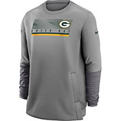 Nike Men's Green Bay Packers Sideline Coaches Grey Crew Sweatshirt