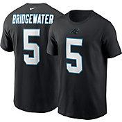 Nike Men's Carolina Panthers Teddy Bridgewater #5 Logo Black T-Shirt