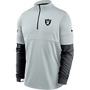 Nike Men's Las Vegas Raiders Sideline Coach Performance Silver Half-Zip Pullover