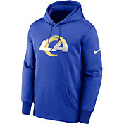 Nike Men's Los Angeles Rams Sideline Therma-FIT Royal Pullover Hoodie