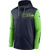 Nike Men's Seattle Seahawks Color Block Logo Full-Zip Navy Hoodie
