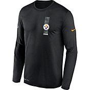 Nike Men's Pittsburgh Steelers Sideline Legend Travel Black Long Sleeve Shirt