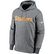 Nike Men's Pittsburgh Steelers Sideline Therma-FIT Wordmark Grey Pullover Hoodie
