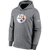 Nike Men's Pittsburgh Steelers Grey Logo Therma Logo Hoodie