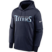Nike Men's Tennessee Titans Sideline Therma-FIT Wordmark College Navy Pullover Hoodie