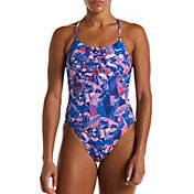 Nike Women's Hydrastrong Gemstone Lace Up Tie-Back One-Piece Swimsuit