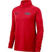 Nike Women's Ole Miss Rebels Red Half-Zip Pullover Shirt