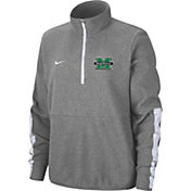 Nike Men's Marshall Thundering Herd Grey Microfleece Half-Zip Shirt
