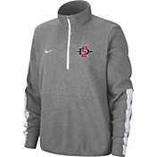 Nike Men's San Diego State Aztecs Grey Microfleece Half-Zip Shirt