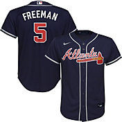 Nike Youth Replica Atlanta Braves Freddie Freeman #5 Cool Base Navy Jersey