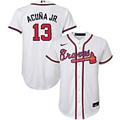 Nike Youth Replica Atlanta Braves Ronald Acuna Jr. #13 Cool Base White Jersey