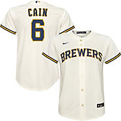 Nike Youth Replica Milwaukee Brewers Lorenzo Cain #6 Cool Base White Jersey