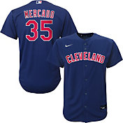 Nike Youth Replica Cleveland Indians Oscar Mercado #35 Cool Base Navy Jersey