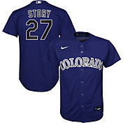 Nike Youth Replica Colorado Rockies Trevor Story #27 Cool Base Purple Jersey