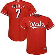 Nike Youth Replica Cincinnati Reds Eugenio Suarez #2 Cool Base Red Jersey