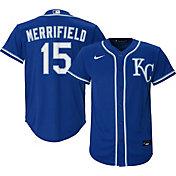 Nike Youth Replica Kansas City Royals Whit Merrifield #15 Cool Base Royal Jersey