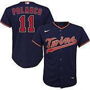 Nike Youth Replica Minnesota Twins Jorge Polanco #11 Cool Base Navy Jersey