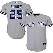 Nike Youth Replica New York Yankees Gleyber Torres #25 Cool Base Grey Jersey