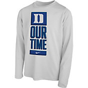 Nike Youth Duke Blue Devils 'Our Time' Bench Long Sleeve White T-Shirt