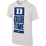 Nike Youth Duke Blue Devils 'Our Time' Bench White T-Shirt