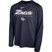 Nike Youth Gonzaga Bulldogs Blue Hook Dri-FIT Legend Long Sleeve Basketball T-Shirt