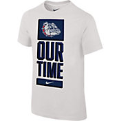 Nike Youth Gonzaga Bulldogs 'Our Time' Bench White T-Shirt