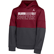 Nike Youth Oklahoma Sooners Crimson Therma Color Block Pullover Hoodie